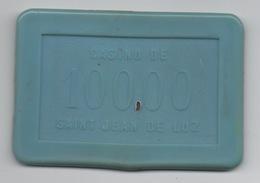 Plaque : Casino De Saint Jean De Luz 10000 Francs >>> 100,00 NF : Numérotée 67 - Casino