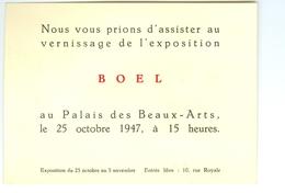 Invitation Vernissage Exposition BOEL Au Palais Des Beaux-Arts Bruxelles 1947 - Autres Collections