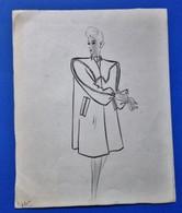 Ancien Dessin Croquis De Mode Manteau Femme - Disegni