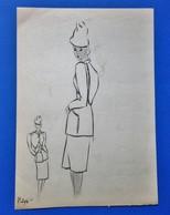Ancien Dessin Croquis De Mode Tailleur Femme - Disegni