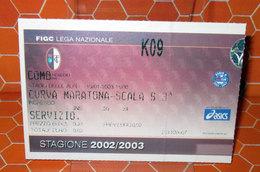 TORINO COMO SERVIZIO CURVA MARATONA 2002/2003 BIGLIETTO TICKET - Biglietti D'ingresso