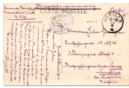 CV Expédiée De Jupille Vers Un Prisonnier Civil Du Camp De Sennelager (1918) - WW I