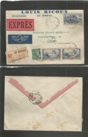 France - Xx. 1939 (27 March) Le Dorat - Germany, Giessen (28 March) Registered Express Mail Service Multifkd Envelope +  - Non Classés
