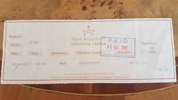 TAIWAN TELEFON CHARGE PRINCE PALACE HOTEL TICKET - Assegni & Assegni Di Viaggio