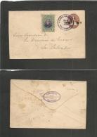 Salvador, El. 1906 (3 Enero) Cojutepeque - San Salvador (4 Enero) 5c Ovptd Brown Stat Env + 1c Adtl Lilac Rings Cancel.  - El Salvador