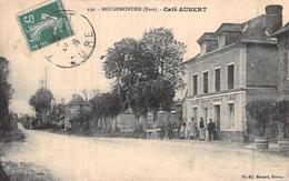 C P A Eure 27 Rougemontiers  Le Café Tabac Aubert Carte Animée - Francia