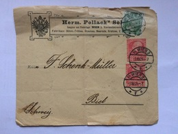 AUSTRIA 1909 Cover Wien To Biel Switzerland - Herm. Pollack - Covers & Documents