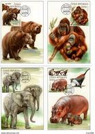 2018 Carte Maximum Zoo Iii Elephants Hippopotame Ours Singe Girafe Perroquet Maximum Card - FDC