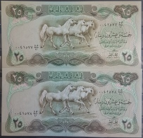AU10 - Iraq 1980 Banlnote 25 Dinars X2 - P66 - Swiss Print - 3 Horses - UNC - 2 Consecutive Serial Numbers - Iraq