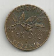 Albania Italiana, 1940, 0,10 Lek, Vittorio Emanuele. - Albania