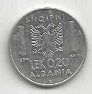 Albania Italiana, 1939a, 0,20 Lek, Vittorio Emanuele. ANTIMAGNETICA. - Albania
