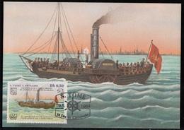 752a S. Tomé E Principe 1984 Navi A Vapore Maximum Card  Phoenix  (1893) Steamers Maxi - Sao Tomé E Principe