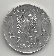 Albania Italiana, 1939a, 2 Lek, Vittorio Emanuele. ANTIMAGNETICA. - Albania