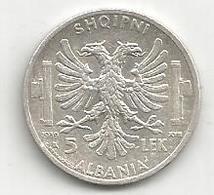 Albania Italiana, 1939, 5 Lek Ag., Vittorio Emanuele. - Albania