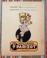 Ancien Protege Cahier D'Ecole PUBLICITAIRE Moutarde PICCALILLI Cornichons PICKLES Parizot - Moutardes