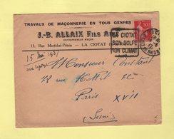 Enveloppe A En Tete - Travaux De Maconnerie - Daguin La Ciotat Son Golf Son Climat - 1937 - 1921-1960: Moderne