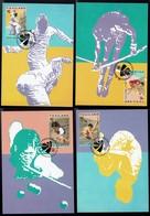 Thailand 1995 -  Fechten, Billard, Wasserspringen, Stabhochsprung - MiNr 1670-1673 MK - Briefmarken