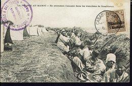 """Deutsche Post Marocco - 1908 - Timbre N° 20 Sur CPA """"En Attendant L'ennemi Dans Les Tranchées De Casablanca"""" B/TB - - Bureau: Maroc"""