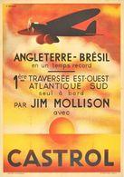 Motor Oil Postcard Castrol Temps Record Angleterre-Brésil Jim Mollison 1930s - Reproduction - Advertising