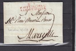 ESPAGNE BARCELONNE 1812 GRANDE ARMEE N°7 Bau PRINCIPAL ARM. D'ESPAGNE SUPERBE - Marcophilie (Lettres)