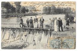 Cpa: 37 SAINT AVERTIN (ar. Tours) Bords Du Cher - La Baignade (animée, Baigneurs Dans Les Remous Du Barrage) 1906 N° 8 - Saint-Avertin
