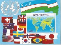 Uzbekistan 2001 - MNH - Flags / UN - US, UK, Japan, China, Brazil, Korea, Canada - Uzbekistan