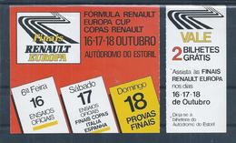 Entrance Ticket To Autodromo Do Estoril. Formula Renault Europa Cup. Auto Racing.Formel Renault Europa Cup, Autorennen. - Automobile