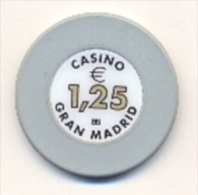 Casino Chip €1.25 Casino Gran Madrid, Spain - Casino