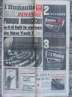 Journal L'Humanité Dimanche (18 Sept 1960) Khrouchtchev - J.O Rome - Drame Congolais - Corée - GP Des Nations - Journaux - Quotidiens