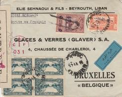 Pli Poste Aérienne Beyrouth -Liban Vers Bruxelles - Censure France Libre Avec Croix De Lorraine Liban - WW II