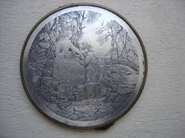 Très Beau MIROIR GRAVE 19eme  ARGENT SUR CUIVRE - Bronzes