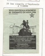 AUSTRIA VIÑETA 1936 WIEN CONGRESO ESPERANTO - Vacaciones & Turismo