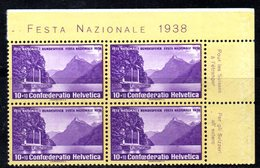 59/1500 - SVIZZERA 1941 , Pro Patria Serie N. 311 : Quartina Integra *** MNH - Pro Patria