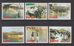 2002 Ghana Bakatue Festival Fishing Boats Culture Complete Set Of 6 MNH - Ghana (1957-...)