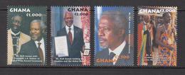 2002 Ghana Kofi Annan Nobel Peace Prize UN Complete Set Of 4 MNH - Ghana (1957-...)