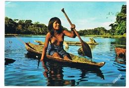 PERU-29   PERU : JIBARO Girl In A Canoe ( Demi-nude) - Peru