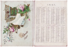 Old Calendar Ancien Calendrier Kalender 1887 Chocolat Souit Chromo Pub Publicite - Calendars