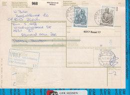 Schweiz - Auslandspaketkarte / Foreign Package Card Zurich - Egmond Aan Zee - Postwaardestukken