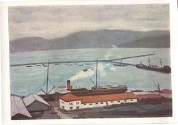 Albert Marche Bougain Breakwater 1961 Ship Steamer Berth Harbor Port Breakwater Painting Harbor - Piroscafi