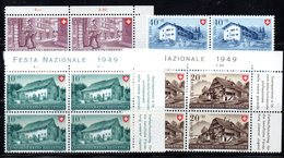 63/1500 - SVIZZERA 1949 , Pro Patria Serie N. 477/480 : Quartina Integra *** MNH - Nuovi