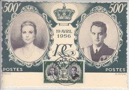 CARTE SOUVENIR 1956 AVEC TIMBRE ET CACHET ET - 19 AVRIL 1956 - Monaco