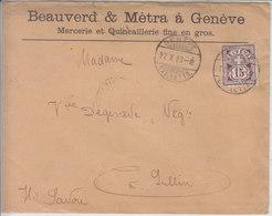 - NUM 68B SUR LETTRE AVEC LOGO PRIVE - BEAUVERD & METRA - GENEVE - 1903 - COTE 45.-- CHF - 1882-1906 Coat Of Arms, Standing Helvetia & UPU
