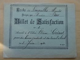 LONGEVILLES HAUTES BILLET DE SATISFACTION ECOLE - Autres Communes