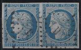 1849 - 1850 Céres N°4a 25c Paire Oblitéré Losange B Romain Superbe !! - 1849-1850 Ceres