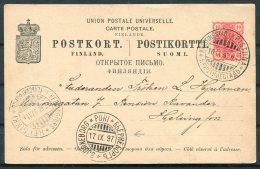 1897 Finland Russia Stationery Postcard Kristinestad - Helsingfors Via Pori / Bjornborg - 1856-1917 Russian Government