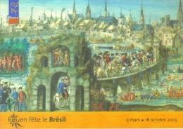 """Carte Postale édition """"Carte à Pub"""" - Rouen Fête Le  Brésil (entrée à Rouen Du Roi Henri II Et De Catherine De Médicis) - Publicité"""