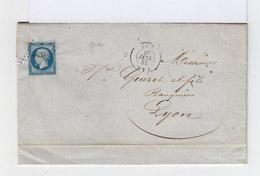 Sur Lettre Avec Correspondance Napoléon III 20 C. Bleu Type I. Oblitération Losange. CAD Gex. (645) - Marcophilie (Lettres)