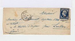 Sur Enveloppe Napoléon III 20 C. Bleu Foncé. Oblitéré Losange Grands Chiffres. (646) - Marcophilie (Lettres)