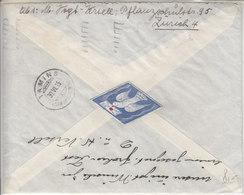 VIGNETTE POSTALE COLOMBE SUR LETTRE POUTR TAMINS (GRISONS) 1935 - Erinnophilie