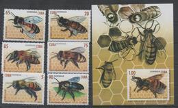 INSECTS, 2017, MNH, BEES, 6v+S/SHEET - Honingbijen